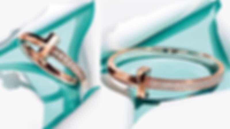 Tiffany T1 18K玫瑰金窄版鑲鑽戒指、18K玫瑰金寬版鋪鑲鑽石手環