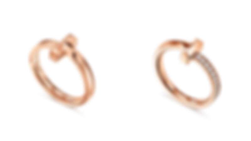 Tiffany T1 18K玫瑰金窄版戒指、18K玫瑰金窄版鑲鑽戒指。