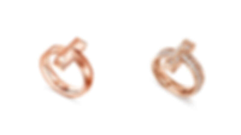 Tiffany T1 18K玫瑰金寬版戒指、18K玫瑰金寬版鋪鑲鑽石戒指。