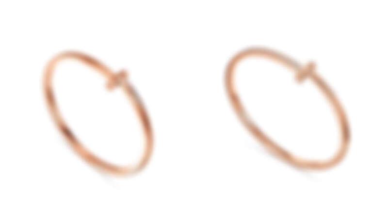 Tiffany T1 18K玫瑰金窄版手環、18K玫瑰金窄版鑲鑽手環。