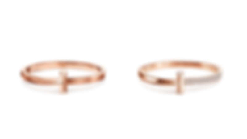 Tiffany T1 18K玫瑰金寬版手環、18K玫瑰金寬版鋪鑲鑽石手環。