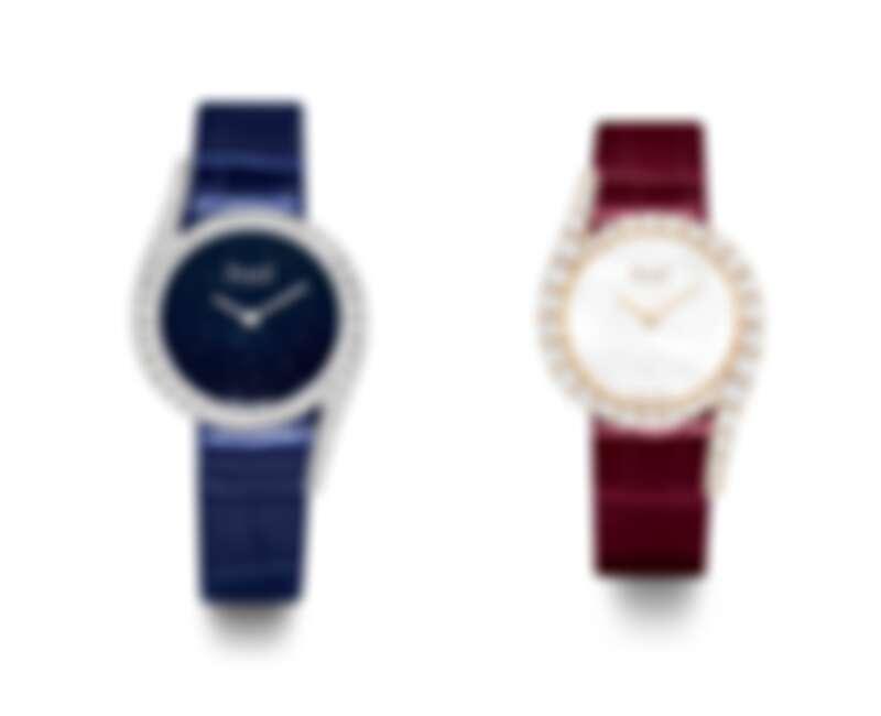 PIAGET Limelight Gala系列18K白金鑲鑽高級珠寶腕錶,26毫米;18K玫瑰金鑲鑽高級珠寶腕錶。