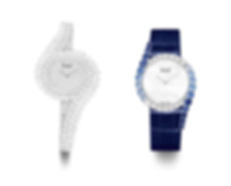 PIAGET Limelight Gala系列18K白金鑲鑽頂級珠寶腕錶;18K白金漸層藍寶石鑲鑽高級珠寶腕錶。