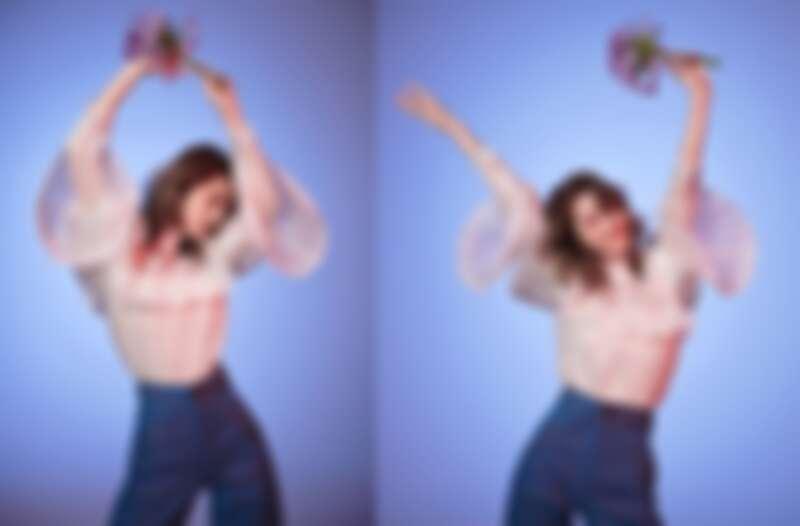 白色蕾絲紗質襯衫、高腰闊腿丹寧褲,all by Marc Jacobs。