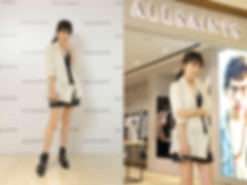 西裝外套(NT$8,900)、洋裝(NT$7,200)、短靴(NT$12,900)、包包(NT$12,900)、項鍊(NT$1,800)、手環(NT$3,100)