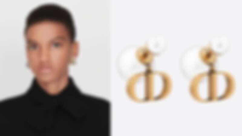 Dior Tribales復古鍍金金屬配白色樹脂珍珠耳環(NT$17,000)