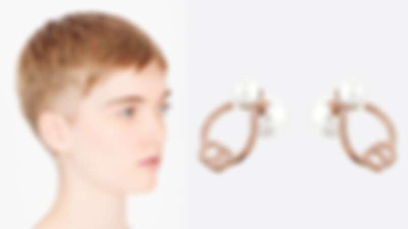 Dior Tribales鍍玫瑰金金屬和粉紅色水晶耳環(NT$17,000)