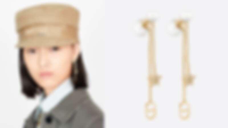 Dior Tribales 鍍金金屬、白色樹脂珠和白色水晶耳環(NT19,500)