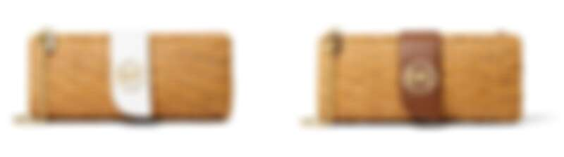Malibu金屬Logo藤編手拿鍊帶包,NT8,500 (白)