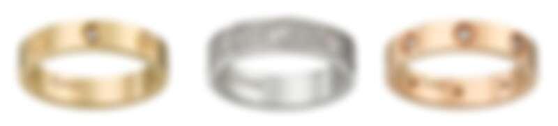 LOVE黃K金鑽石婚戒(1顆鑽石)、LOVE婚戒白K金鋪鑲鑽石婚戒、LOVE玫瑰金鑽石婚戒(8顆鑽石)。