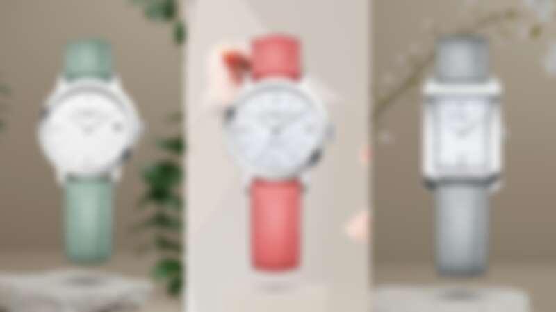 Baume et Mercie 名士 薄荷綠、淡粉紅和冰藍色錶帶手錶