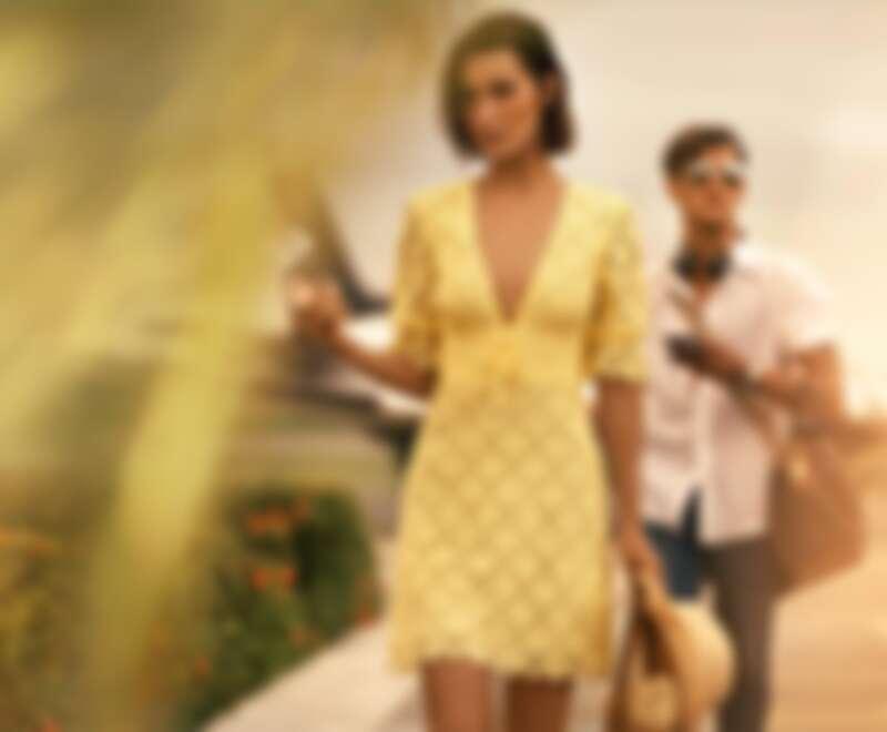 檸檬黃鏤空蕾絲洋裝