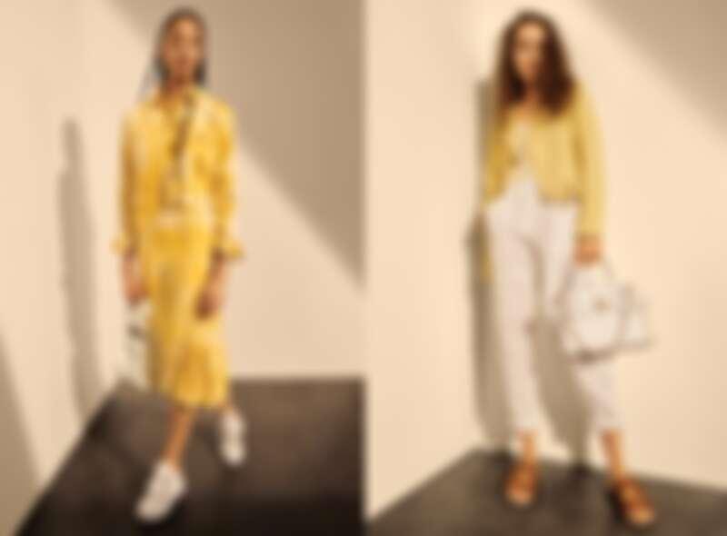 (左)檸檬黃扎染牛仔夾克及洋裝、(右)檸檬黃皮衣外套, 條紋上衣及白色休閒褲