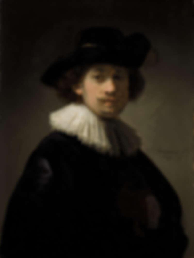 Rembrandt Van Rijn, Self-portra]it, wearing a ruff and black hat, 1632