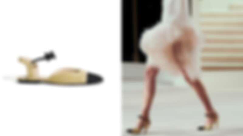 米色麂皮羅緞雙色蝴蝶結平底鞋,NT28,000
