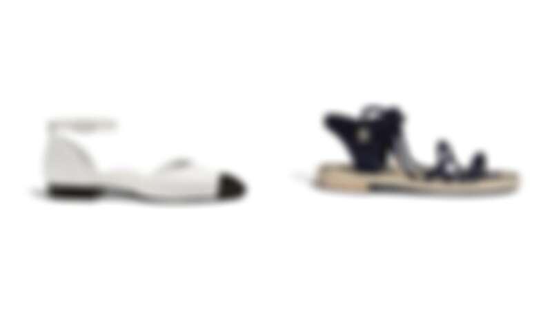 象牙白亮片羅緞雙色繞踝平底鞋,NT 40,500、黑色麂皮綁繩軟木平底涼鞋 ,NT29,900
