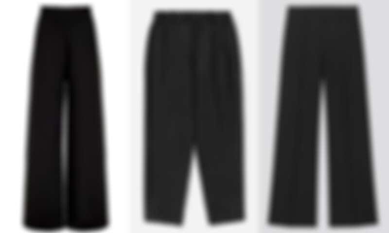 左:Paris Georgia黑色高腰褲 NT$13,700;中:Everlane黑色打摺褲NT$3,700;右:MSGM 黑色高腰褲 NT$8,300