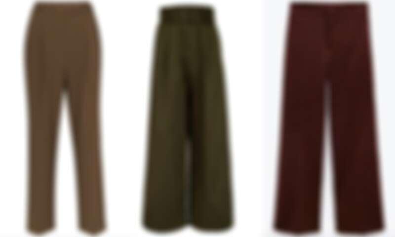 左:Frankie Shop棕色長褲 NT$11,000;中:Shaina橄欖綠長褲NT$9,800;右:Zara酒紅色寬褲 NT$2,900