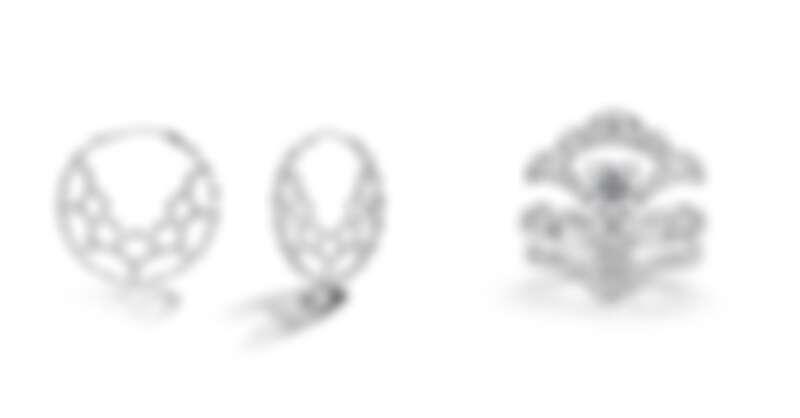 ORELEI REVERIE系列白K金鑽石環狀耳環、白K金鑽石戒指