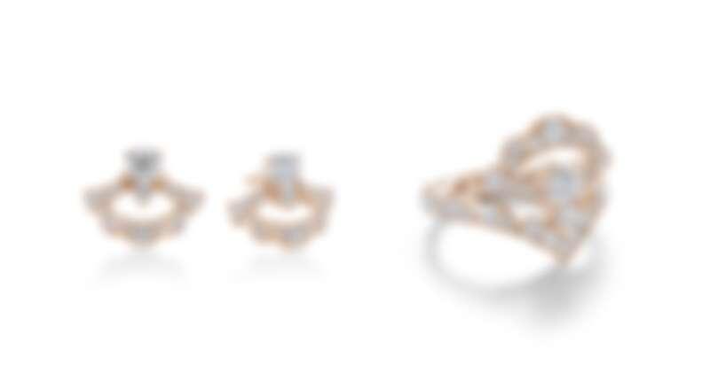 LORELEI REVERIE系列玫瑰金鑽石耳環、玫瑰金鑽石戒指