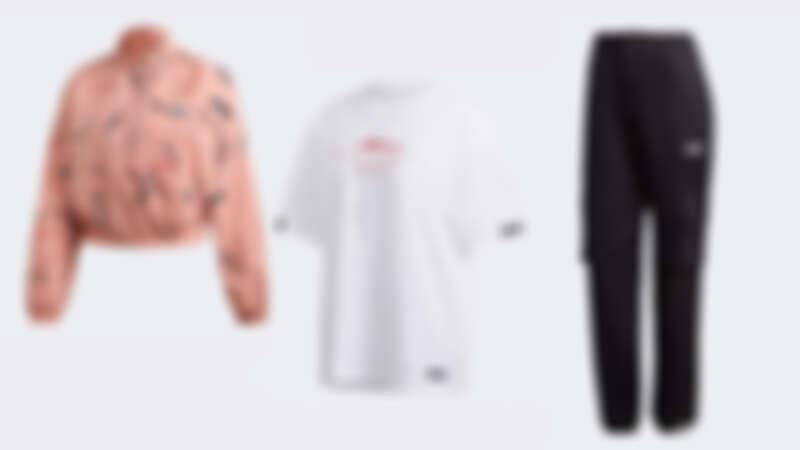 R.V.Y.印花夾克 NTD2,890、R.Y.V.白色寬版上衣 NTD1,690、R.Y.V.黑色長褲 NTD 3,090