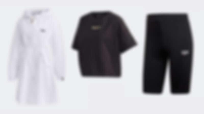 R.Y.V.白色長版夾克 NTD3,890、R.Y.V.短版上衣 NTD1,490、R.Y.V.黑色車褲 NTD1,290