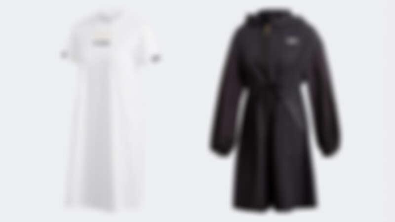 R.Y.V.白色抽繩洋裝 NTD2,490、R.Y.V.黑色長版夾克 NTD3,890