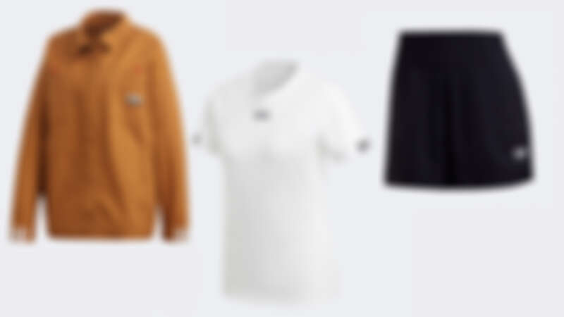 R.Y.V.卡其色夾克 NTD4,890、R.Y.V.白色上衣 NTD1,290、R.Y.V.黑色短褲 NTD1,490
