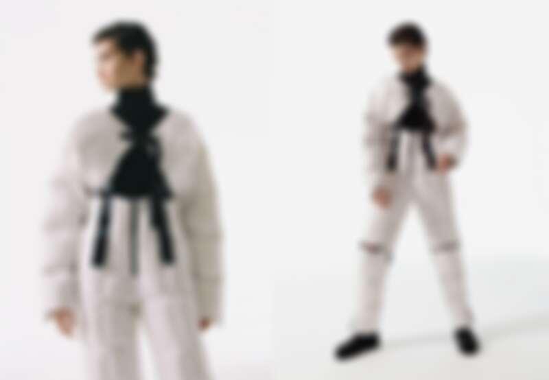結構羽絨連身褲NT91,800、結構羽絨外套NT48,300