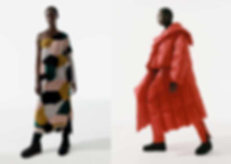 狀聲織褶洋裝NT42,300、結構羽絨長大衣NT163,800