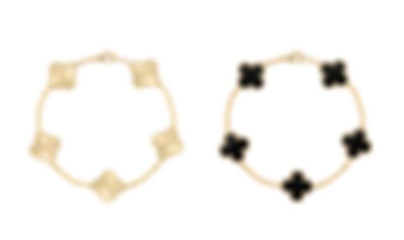 Van Cleef & Arpels Vintage Alhambra璣鏤雕花黃K金手鍊、縞瑪瑙黃K金手鍊 (5枚墜飾)。