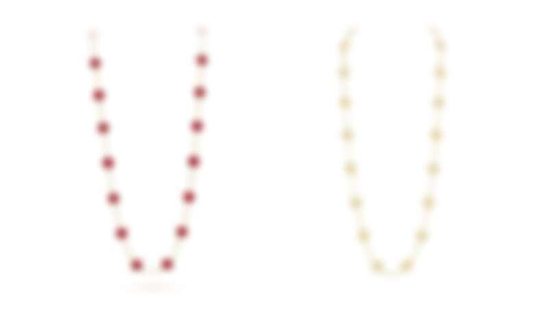 Van Cleef & Arpels Vintage Alhambra紅玉髓黃K金長項鍊(20枚墜飾)、黃K金長項鍊(20枚幸運四葉圖騰)。