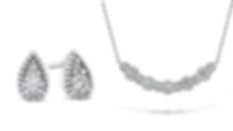 BEHATI BEADED白K金鑽石耳環、BEHATI BEADED白K金鑽石中型項鍊