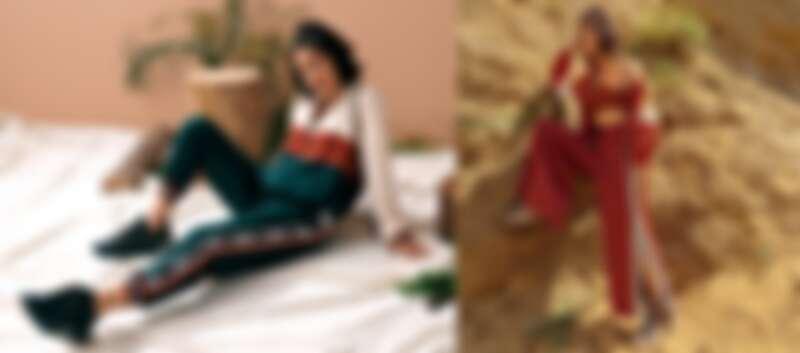 MOLLIFIX 2020秋冬新品 「啟程」系列,以拼色時尚以及運動材質拼接營造出率性時髦休閒風格 左:拼色前口袋LOGO織帶連帽上衣 售價:2,480,拼色側邊LOGO織帶哈倫褲 售價:2,680 右:古著感撞色排釦夾克(紅棕/軍綠) 售價:3,280,閃閃織帶開岔壓釦寬褲 (紅棕)售價:2,980