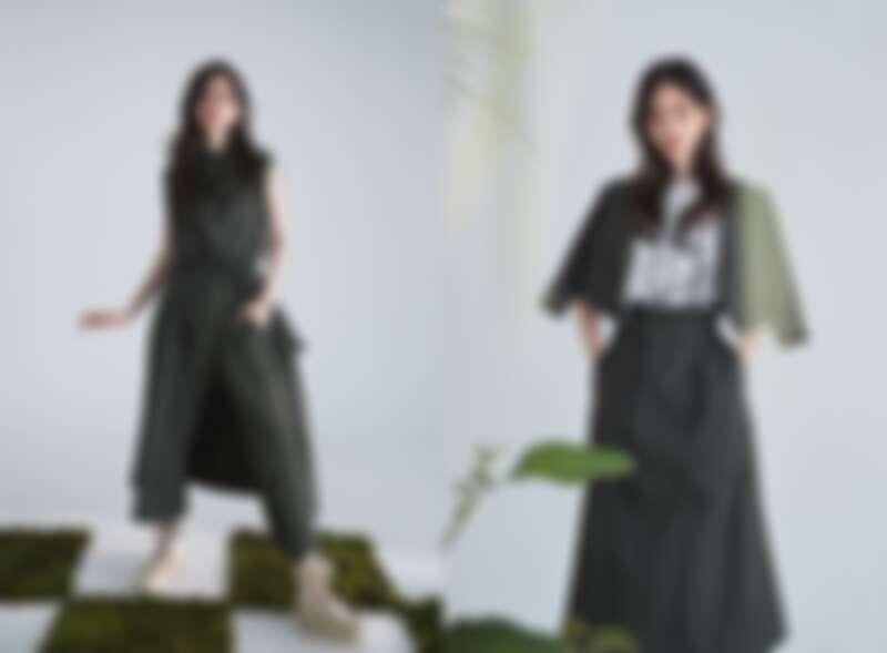 率性瀟灑的軍綠色服裝單品,搭配著可拆解為裙裝、夾克、背心多元穿法的經典5 in 1風衣,完美體現品牌「一衣多穿」的混搭精神。