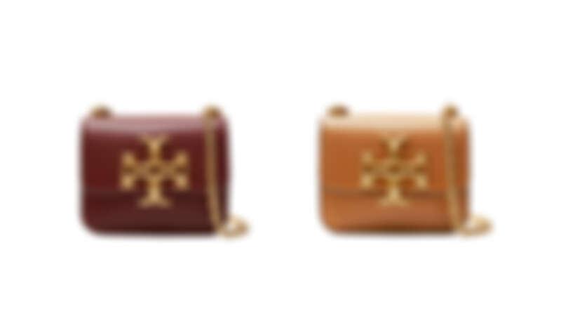 Tory Burch Eleanor系列酒紅色皮革迷你鍊帶肩背包、焦糖色迷你鍊帶肩背包,各NT16,900。
