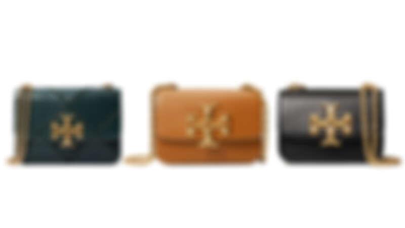 Tory Burch Eleanor系列潛艇綠縫線皮革鍊帶肩背包(大),NT33,900、焦糖色色皮革鍊帶肩背包(小)、黑色皮革鍊帶肩背包(小),各NT25,900。