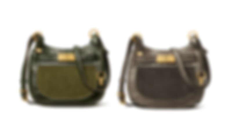 Tory Burch 海藻綠拼接材質Lee Radziwill馬鞍包、深灰色拼接材質Lee Radziwill 馬鞍包,各NT27,900。