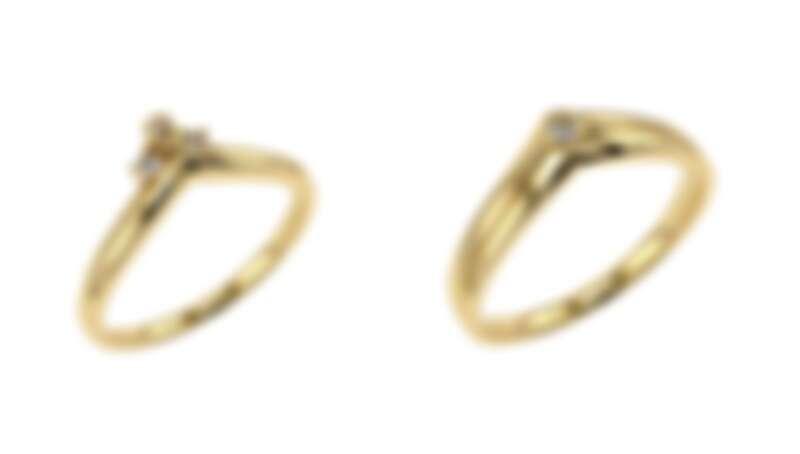 Be My World 結婚女戒(左)三顆配鑽總重0.06ct,售價18K NT$25,600/鉑金 NT$30,400。結婚男戒(右)售價18K NT$28,000/鉑金 NT$37,600。