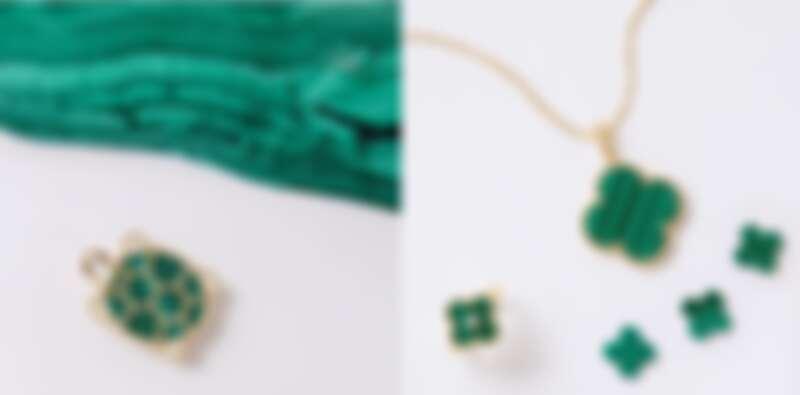 左圖:Lucky Animals系列孔雀石小烏龜胸針,約NT214,000;右圖:Magic Alhambra黃K金孔雀石吊墜,約NT195,000、Vintage Alhambra黃K金孔雀石戒指,約NT113,000。