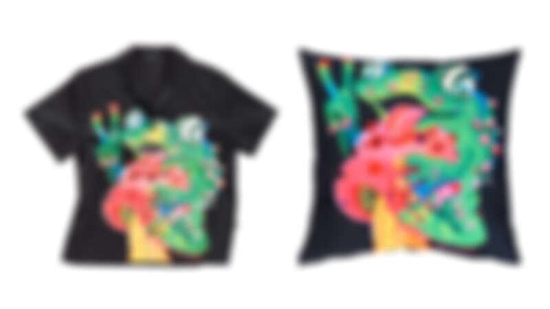 「Froggy蘑菇上的青蛙」印花襯衫,NT6,990、「Froggy蘑菇上的青蛙」印花抱枕,NT3,890。