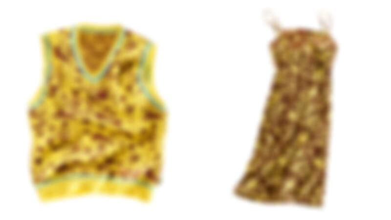 科技花卉印花背心,NT8,290、科技花卉印花洋裝,NT10,900。