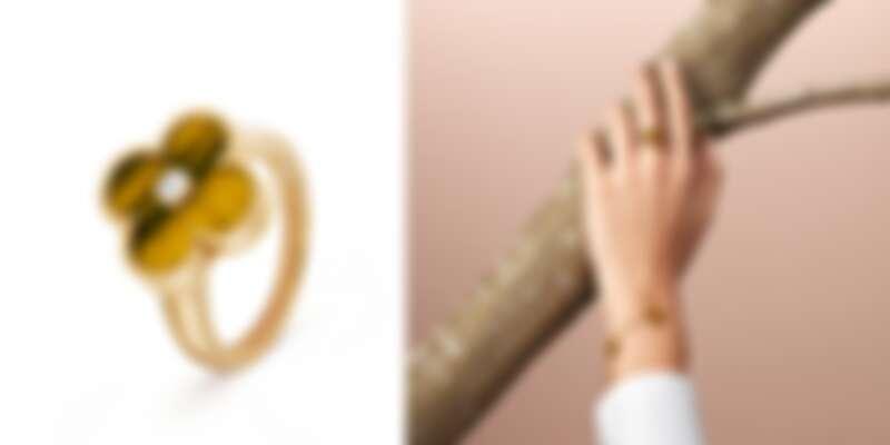 左圖:Van Cleef & Arpels梵克雅寶Vintage Alhambra黃K金虎眼石鑲鑽戒指,約NT109,000;右圖:Vintage Alhambra黃K金虎眼石鑲鑽戒指、Vintage Alhambra系列5枚黃K金虎眼石墜飾手鍊,約NT127,000。
