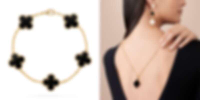 左圖:Vintage Alhambra 5枚縞瑪瑙墜飾黃K金手鍊,約NT116,000;右圖:Magic Alhambra縞瑪瑙墜飾黃K金長項鍊,約NT168,000、Magic Alhambra縞瑪瑙與珍珠母貝墜飾黃K金耳環,價格店洽。