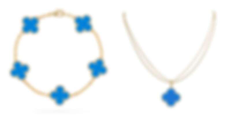 左圖:Van Cleef & Arpels梵克雅寶Vintage Alhambra 5枚藍瑪瑙墜飾黃K金手鍊,約NT131,000;右圖:Magic Alhambra藍瑪瑙墜飾黄K金長項鍊,約NT192,000。