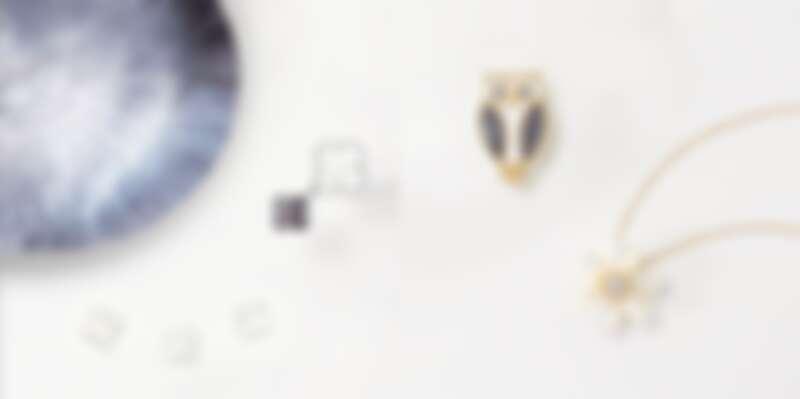 左圖:Magic Alhambra珍珠母貝指間戒,價格店洽;右圖:Lucky Animals貓頭鷹珍珠母貝縞瑪瑙胸針,約NT195,000、Rose de Noël黃K金珍珠母貝吊墜胸針,約NT456,000。