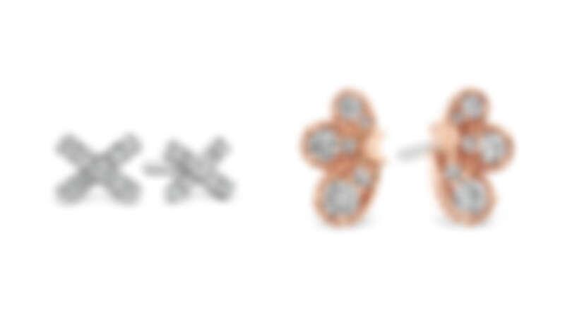 圖左/HARLEY XO白K金鑽石耳環,圖右/BEHATI玫瑰金鑽石耳環
