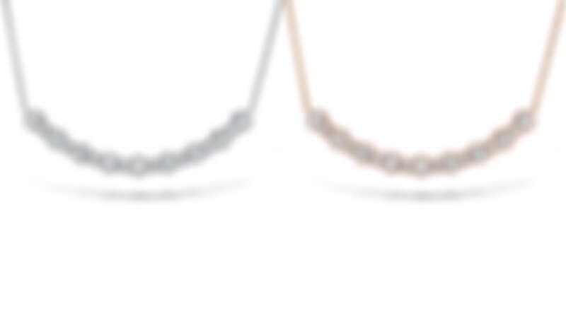 圖左/BEHATI BEADED玫瑰金鑽石項鍊,圖右/BEHATI BEADED白K金鑽石項鍊
