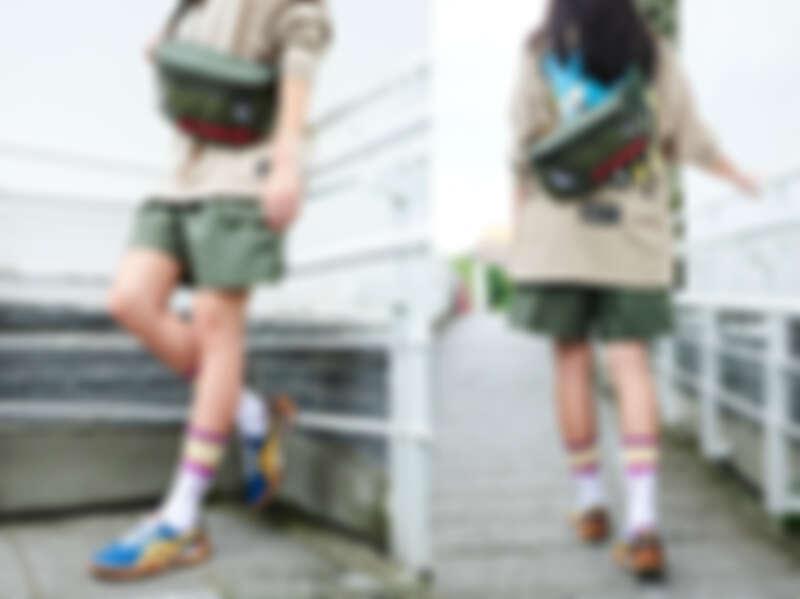中性長袖上衣,NT1,890、休閒短褲,NT2,990、腰包,NT2,390、徽章組合,NTD 690、文字中筒襪,NT460、OHBORI EX鞋款,NT3,780。