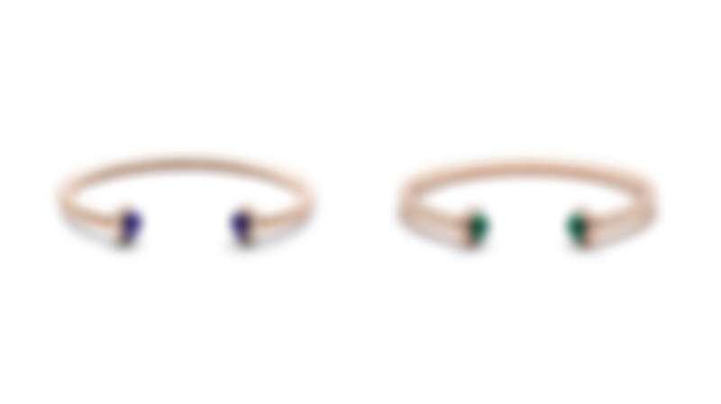 PIAGET Possession系列:18K玫瑰金青金石鑽石手鐲、18K玫瑰金孔雀石鑽石手鐲。